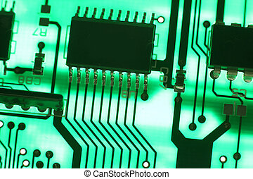 Electronics technology background in green