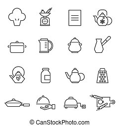 Kitchen utensils - Set of outlined cooking icons. Kitchen...