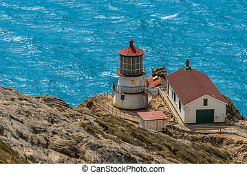 Point Reyes lighthouse on cliff by Pacific Ocean - Pt. Reyes...
