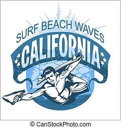 Surfing - vector label and elements for tshirt