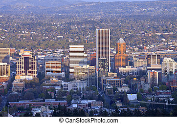 Portland Oregon city view at sunset. - Portland Oregon...