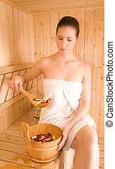 Woman and sauna