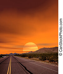 Sunset Road - Sunset road Sonora desert and mountains...