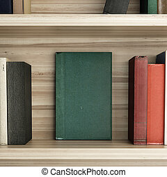 Wooden Bookshelf with color blank books. 3d rendering
