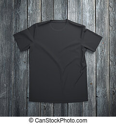 Black t-shirt on wooden background - Black blank t-shirt on...