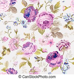 Spring Flowers Background - Seamless Floral Shabby Chic...