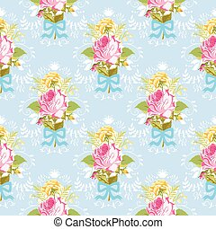 Seamless Floral Shabby Chic Background - Vintage Roses...