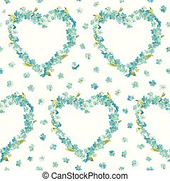Spring Flowers Heart Background - Seamless Floral Shabby...