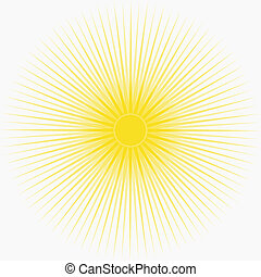 Yellow sun background with long thin rays