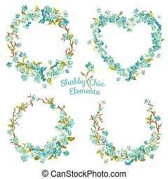 Flower Banners and Tags - for your design and scrapbook - in...