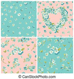 Set of Spring Blossom Flowers Backgrounds - Seamless Floral Shabby Chic Pattern - in vector