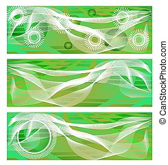 Set, collection of three green, modern banners with pattern, simple white shapes