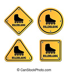 rollerblading signs - suitable for illustrations