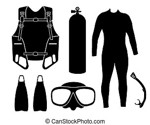 diving equipment - silhouette - suitable for illustrations
