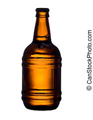 beer  - Bottle with beer sliced on white background