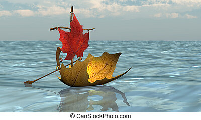 Boat from Autumn Leaves on Water - Boat from autumn leaves...