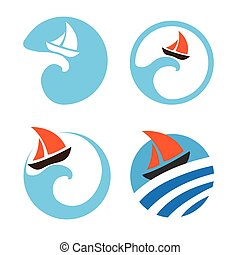 Yachts and sailing boats. Set of vector logos