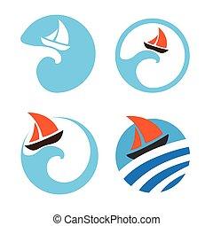 Yachts and sailing boats. Set of vector logos