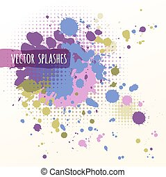 Inky colorful splashes - Watercolor hand painted background...