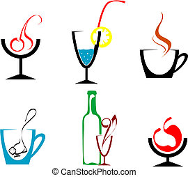 Beverages and drinks - Set of beverages and drinks symbols...