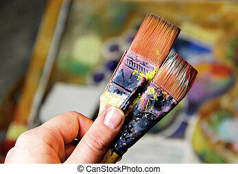 tintas, vida, ainda,  cubistic, artista