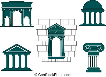Ancient buildings symbols