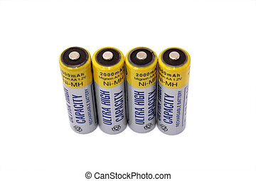 Four rechargable batteries isolated on white background All...