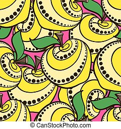 Apples-01 - Hand-drawn yellow decorative apples on the red...