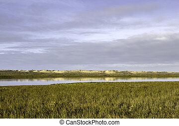 Algarve QDL landscape at Ria Formosa wetlands reserve,...