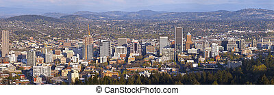 Portland Oregon city panorama at sunset. - Portland Oregon...