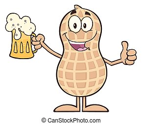 Happy Peanut Holding A Beer - Happy Peanut Cartoon Character...