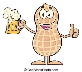 Happy Peanut Holding A Beer - Happy Peanut Cartoon Character...