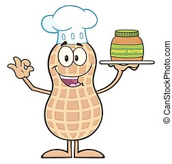 Chef Peanut Cartoon Character Holding A Jar Of Peanut Butter