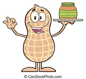 Peanut Cartoon Character Holding A Jar Of Peanut Butter