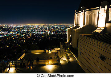 View of Los Angeles and the Griffith Observatory at night,...