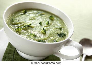 sopa, brócolos