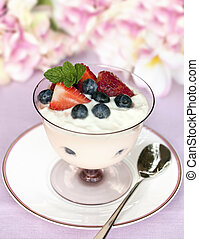 Fruit Yogurt - Yogurt with fresh strawberries and...