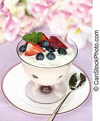 Fruit Yogurt - Yogurt with fresh strawberries and...