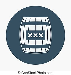 Pirate icon, cask or barell. Flat design vector...