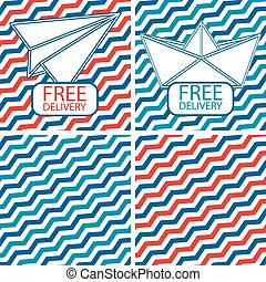 Set of free shipping vector illustrations on the striped background