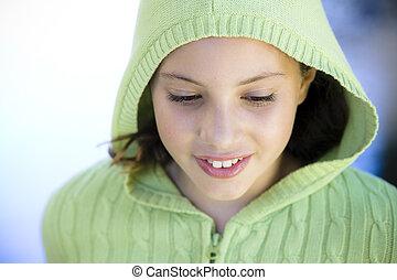 Portrait Of Thoughtful Tween Girl - Tween Girl Standing By...
