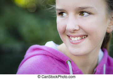 Portrait Of Smiling Tween Girl - Tween Girl Smiling Away...