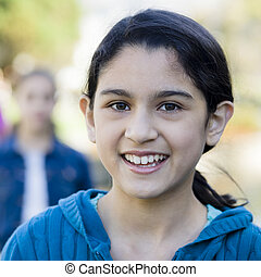 Portrait Of Tween Girl - Portrait of smiling tween girl...