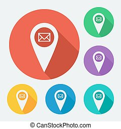 Flat style geo tag icon with long shadow, vector illustration.