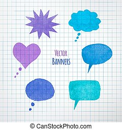 Colorful speech bubbles. - Collection of watercolor colorful...