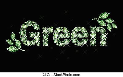 Gem word green - Word green made of gems
