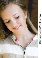 Tween Girl - Portrait of Smiling Tween Girl standing in...