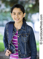 Portrait Of Tween Girl Smiling - Portrait of Smiling Tween...