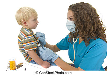 Healthcare professional checks toddlers breathing - Nurse or...