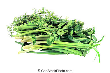 green onions and dill parsley